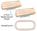 Set of 2 FLAWLESS Body™ Replacement Heads & 1 SensaGuard Cover